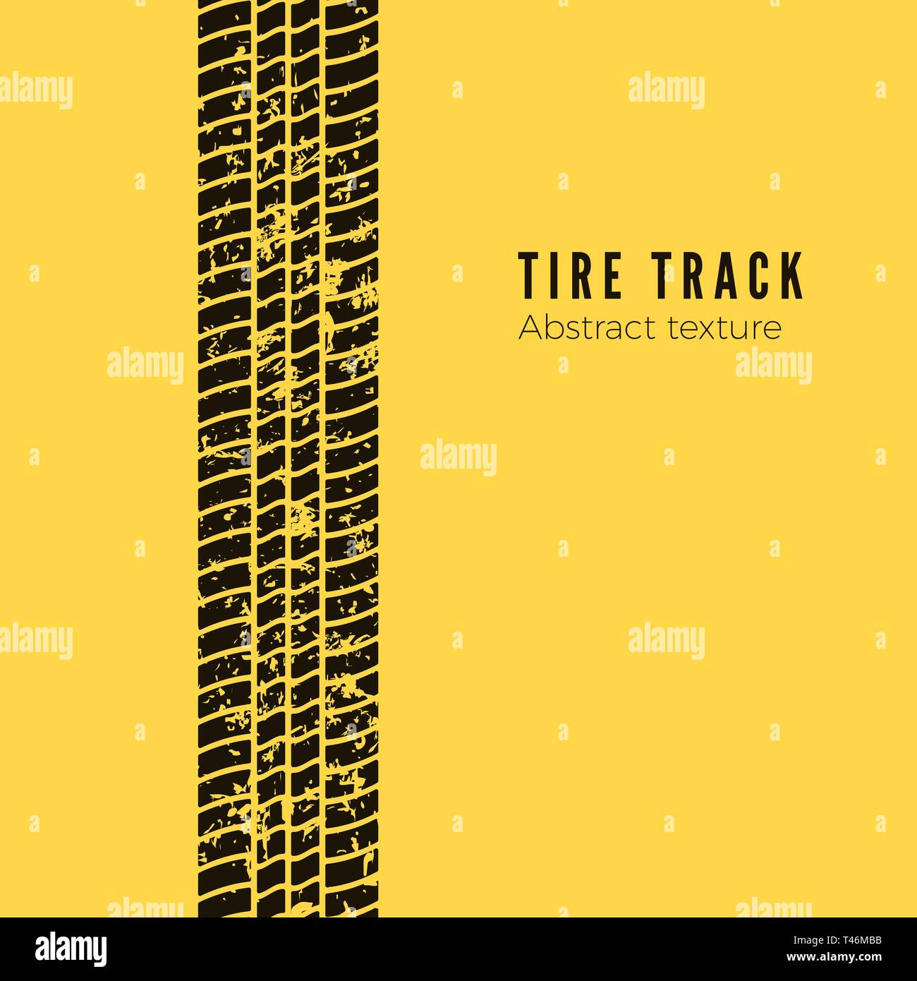 Dirt track from the car wheel protector. Tire track silhouette. Black tire track. Vector illustration isolated on yellow background - Stock Vector