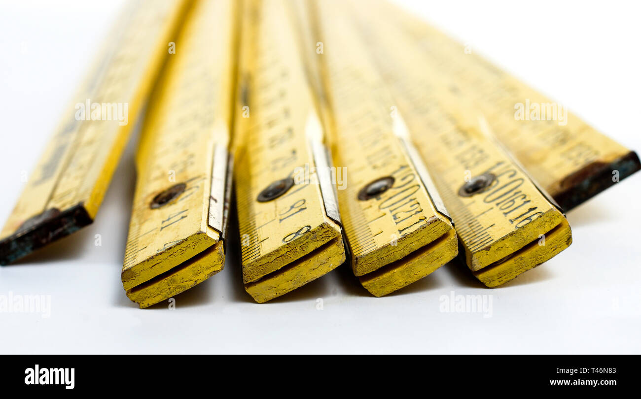 Old wooden yardstick - Stock Image