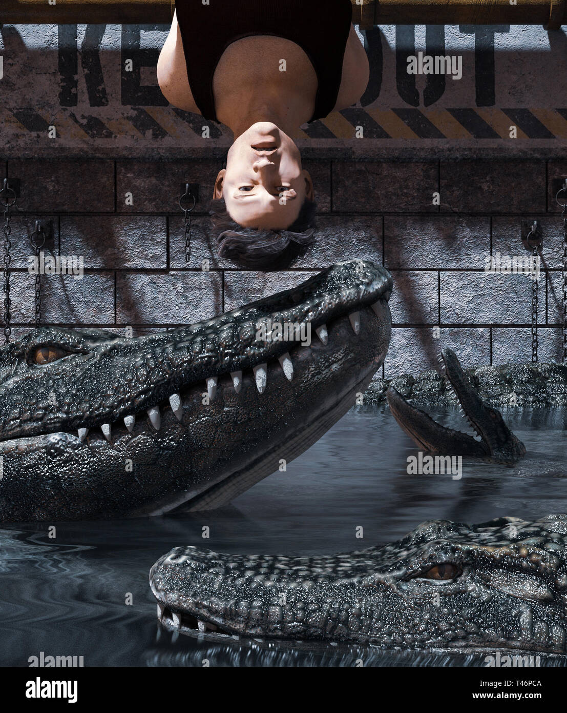 Pray to be prey,Man being tied up in  Alligator's tank,3d rendering - Stock Image
