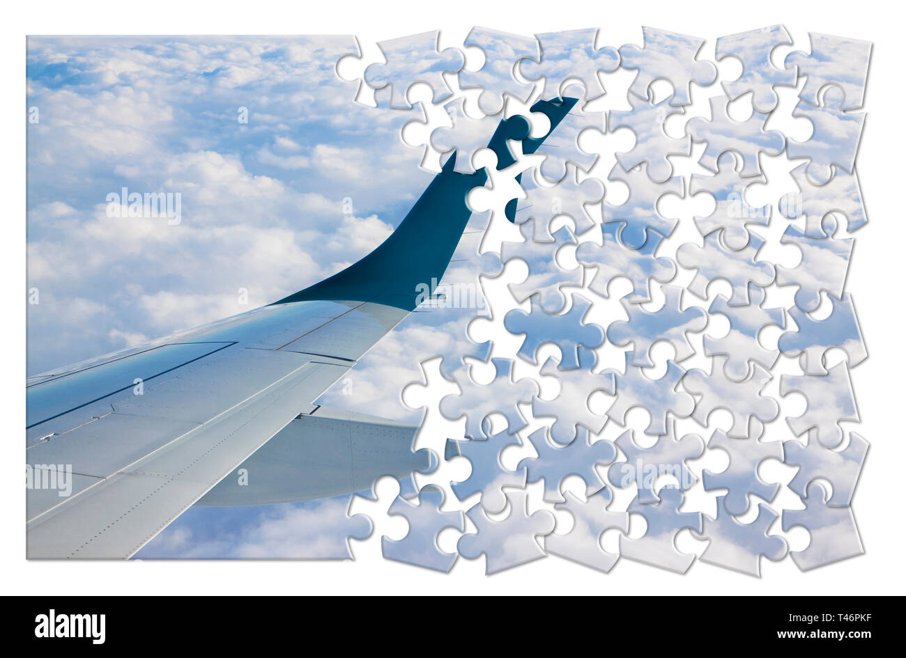 Airplane wing above the clouds in jigsaw puzzle shape - concept image which can mean: overcome fear of flying or solutions to air sickness or plan the - Stock Image