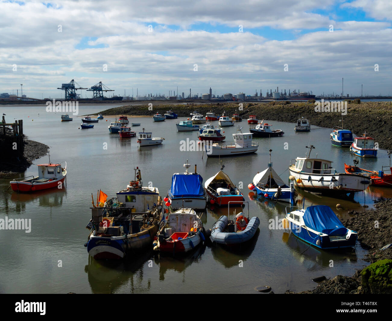 Fishing and pleasure boats in Paddys Hole Harbour, Teesmouth, Redcar Cleveland UK Stock Photo