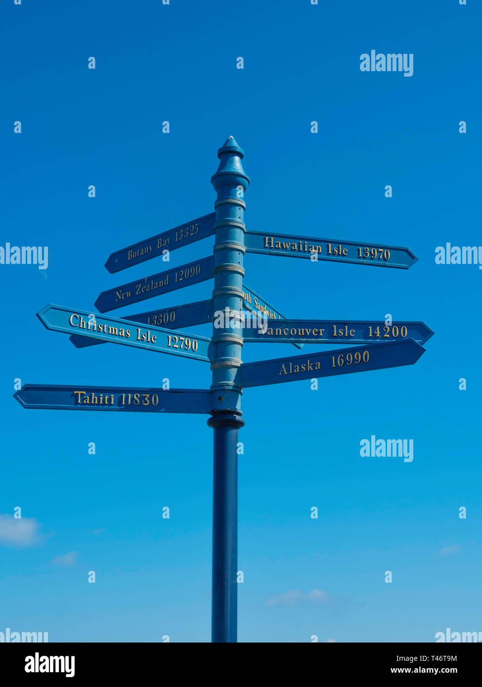 A signpost in Whitby showing distances sailed in Nautical Miles to places discovered by the famous navigator Captain James Cook Stock Photo