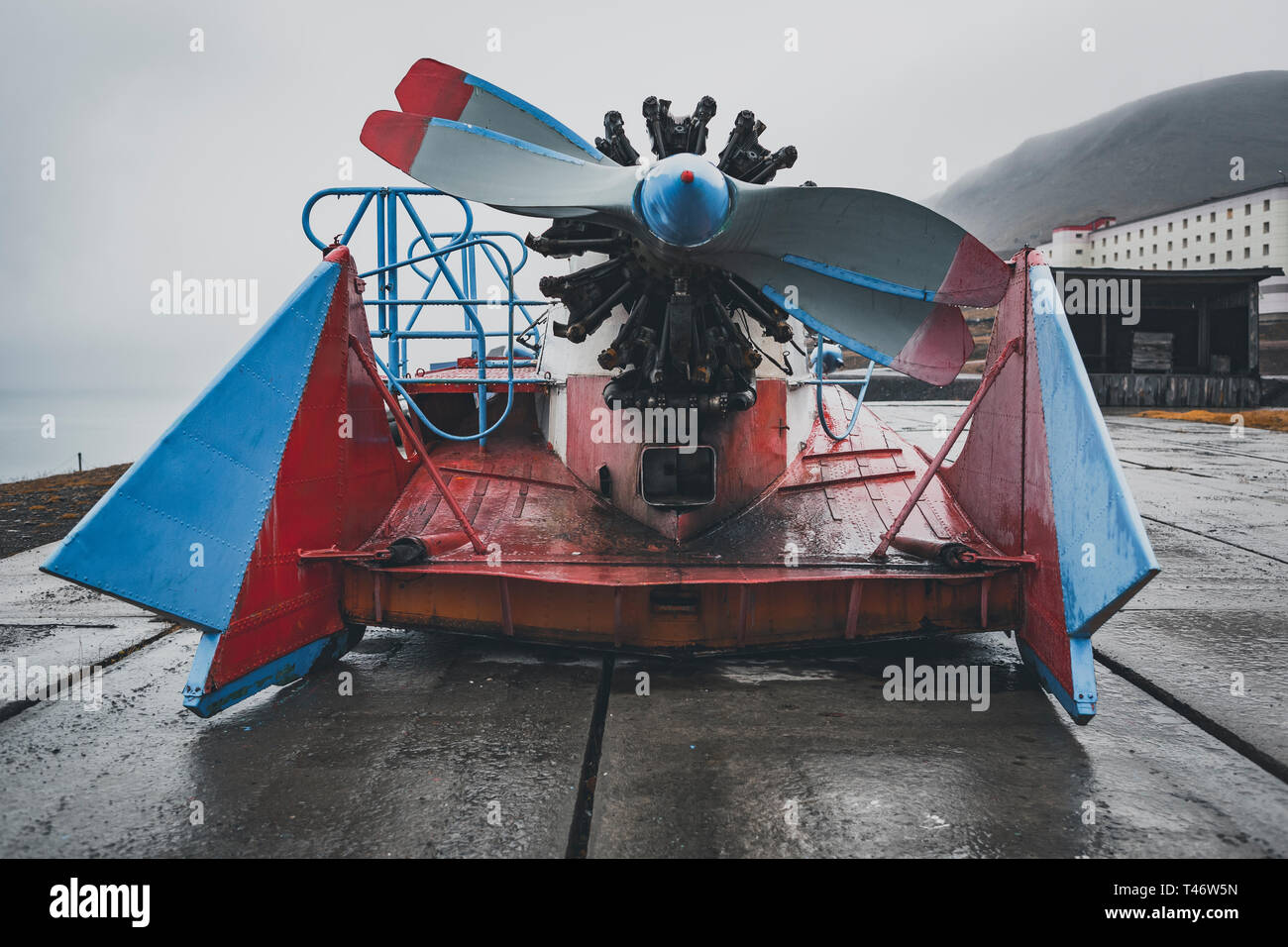 retired old russian radial engine propeller Boat at Barentsburg, Svalbard, Norway - Tupolev A-3 Aerosledge - Stock Image