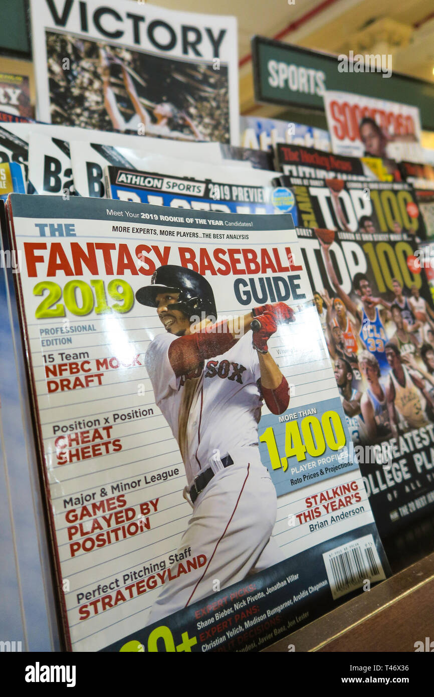 Magazine Stand Featuring Magazine Covers, NYC, USA - Stock Image