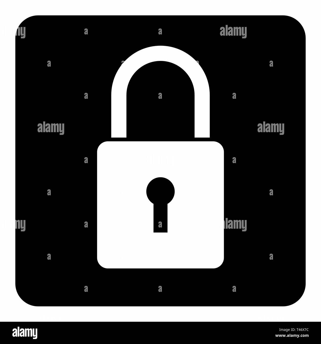 Padlock icon illustration - Stock Image