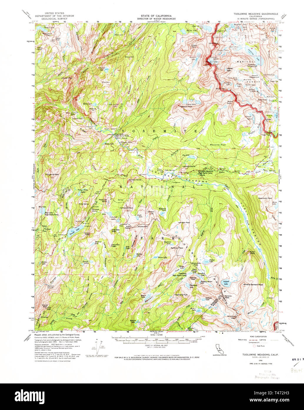 Usgs Topo Map California Ca Tuolumne Meadows 301881 1956 62500