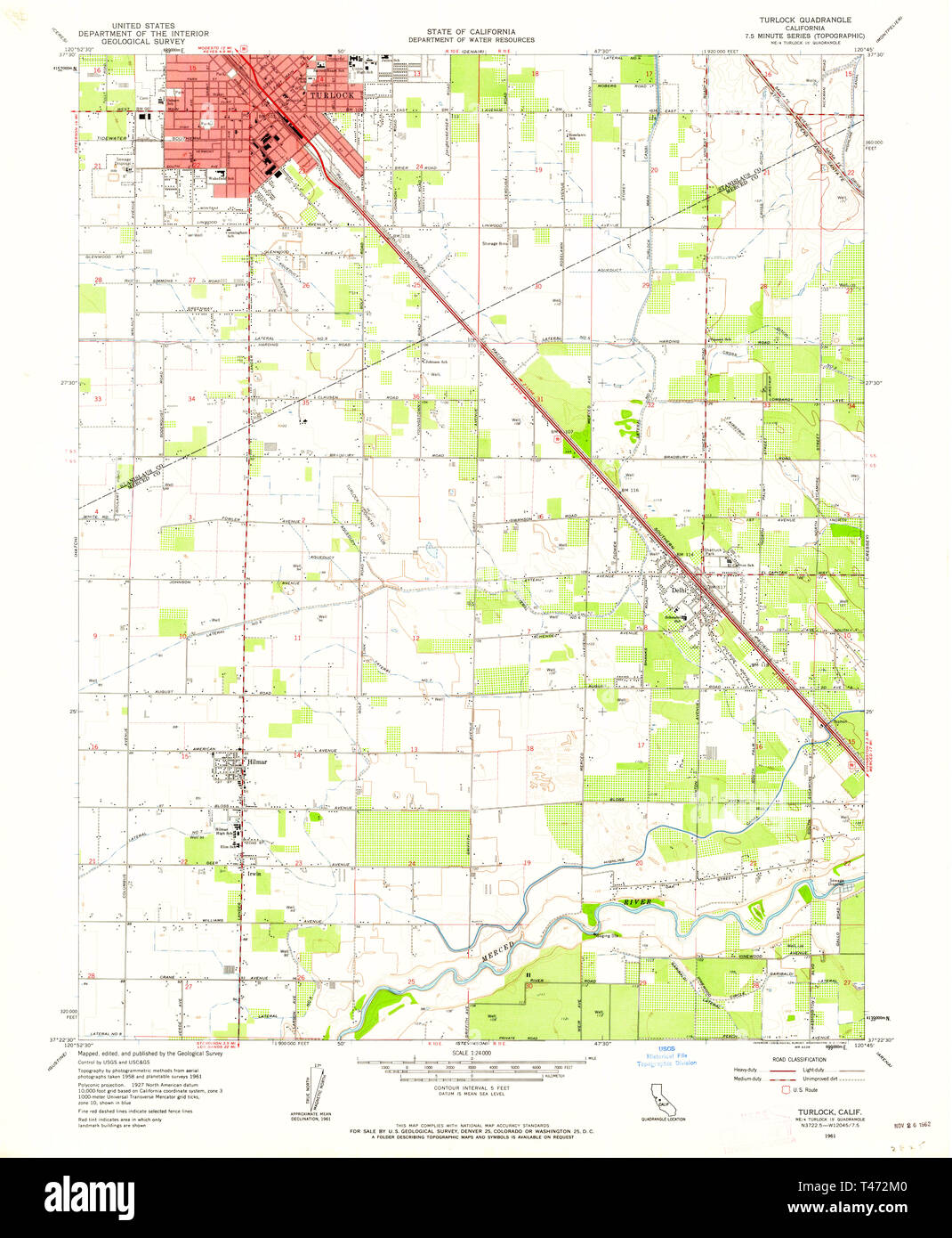 USGS TOPO Map California CA Turlock 301004 1961 24000