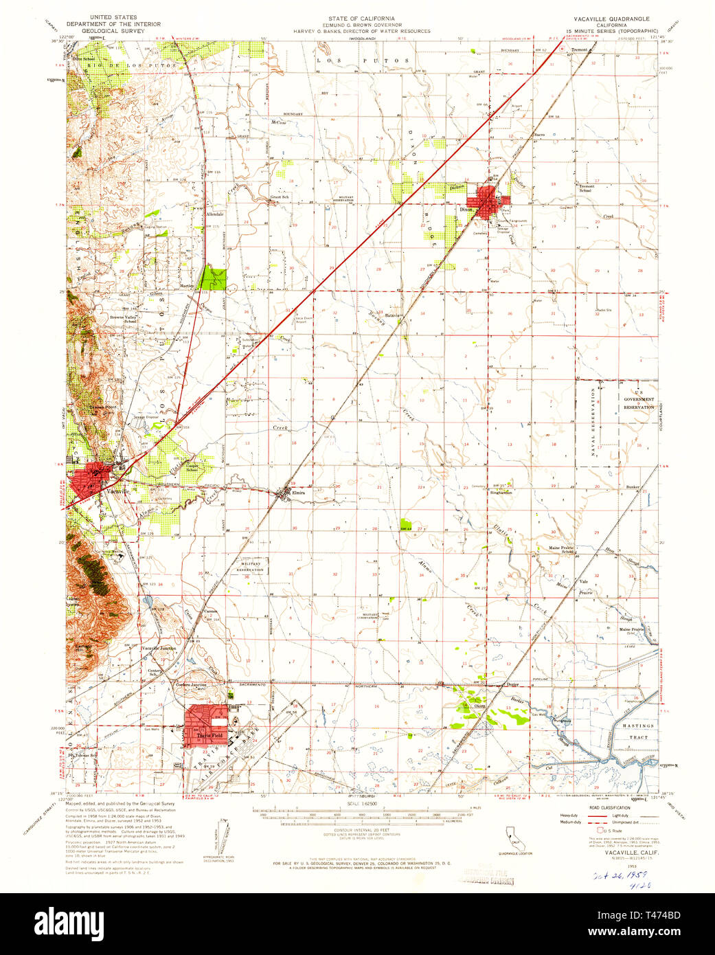 Map Of California Vacaville.Usgs Topo Map California Ca Vacaville 301915 1953 62500 Restoration