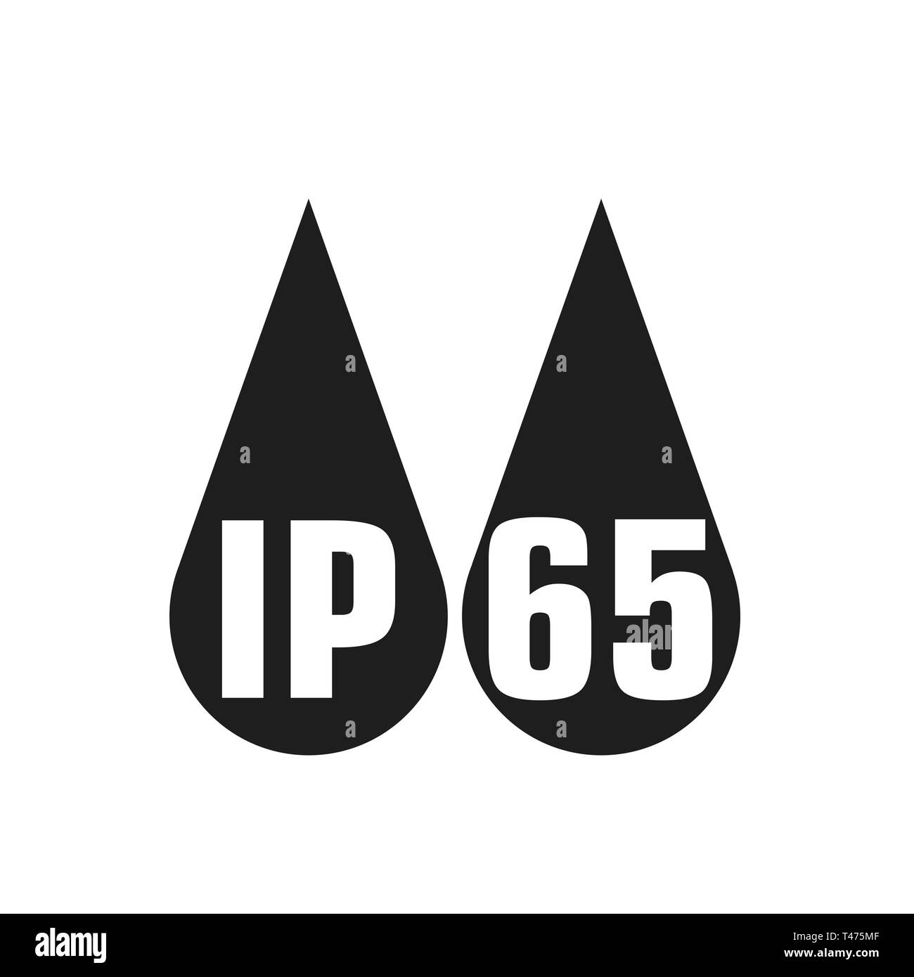 IP65 protection certificate standard icon. Water and dust or solids resistant protected symbol. Vector illustration. eps10 - Stock Image
