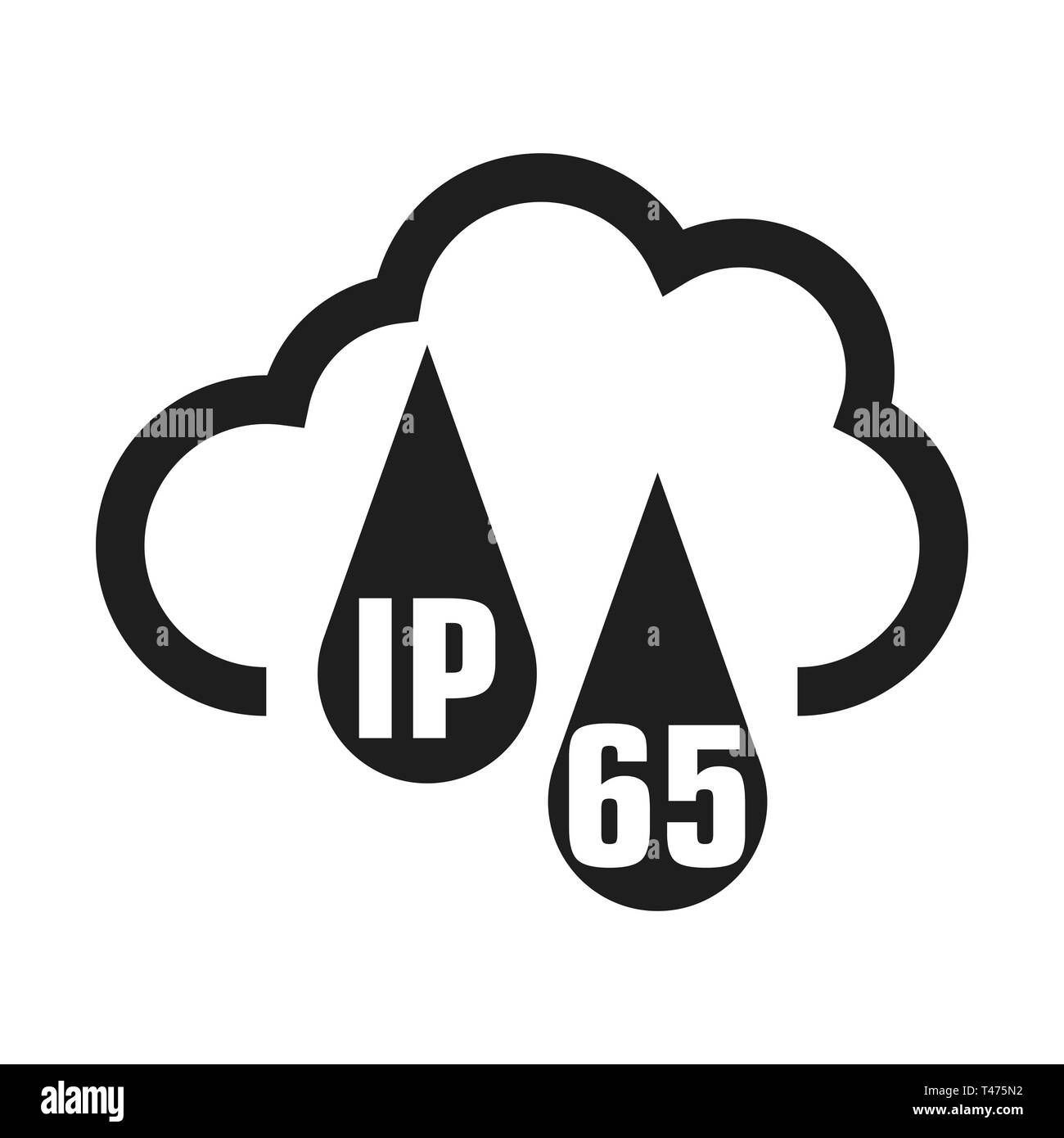 IP65 protection certificate standard icon. Water and dust or solids resistant protected symbol. Vector illustration. eps 10 - Stock Image