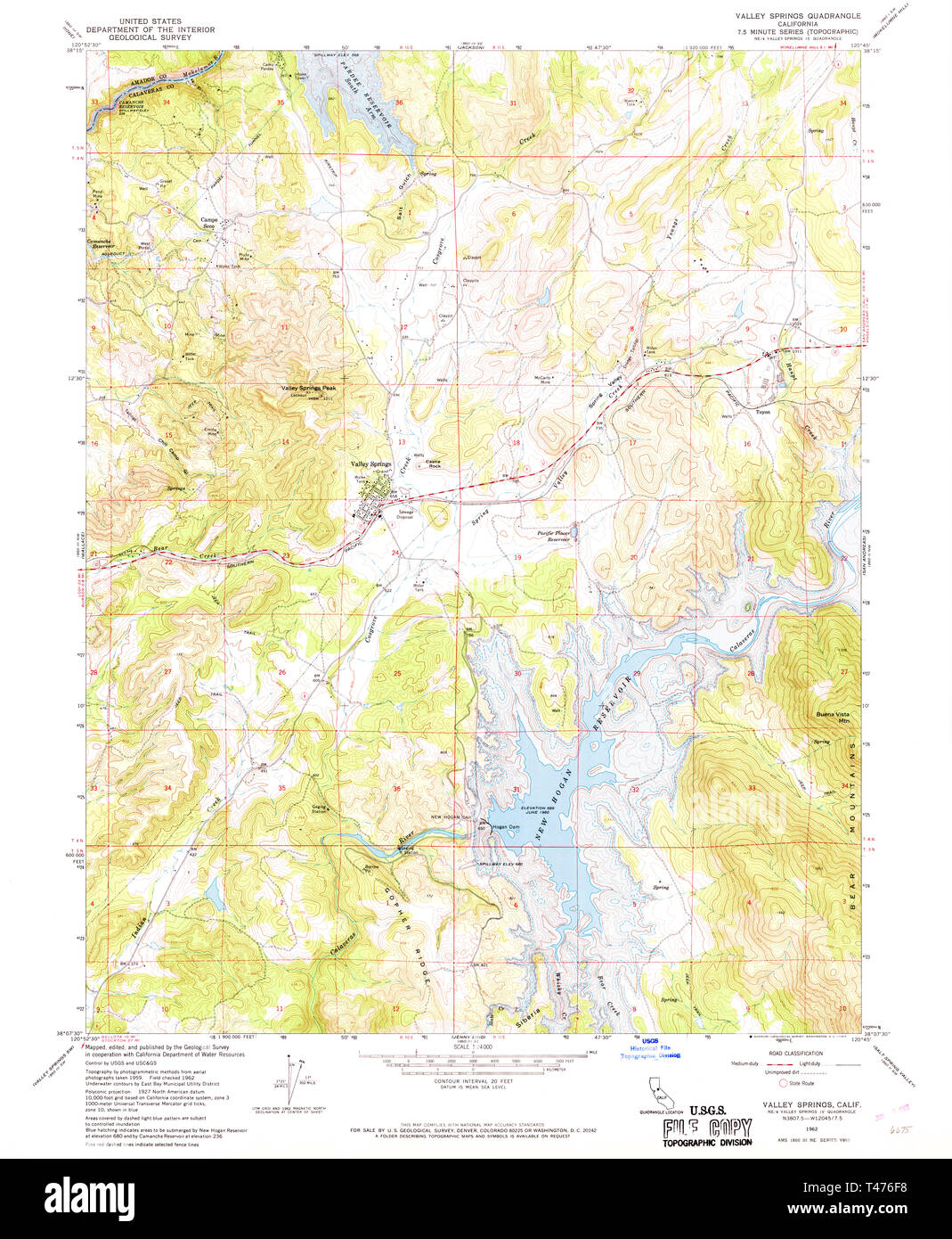 USGS TOPO Map California CA Valley Springs 301092 1962 24000 ... California Valley Map on