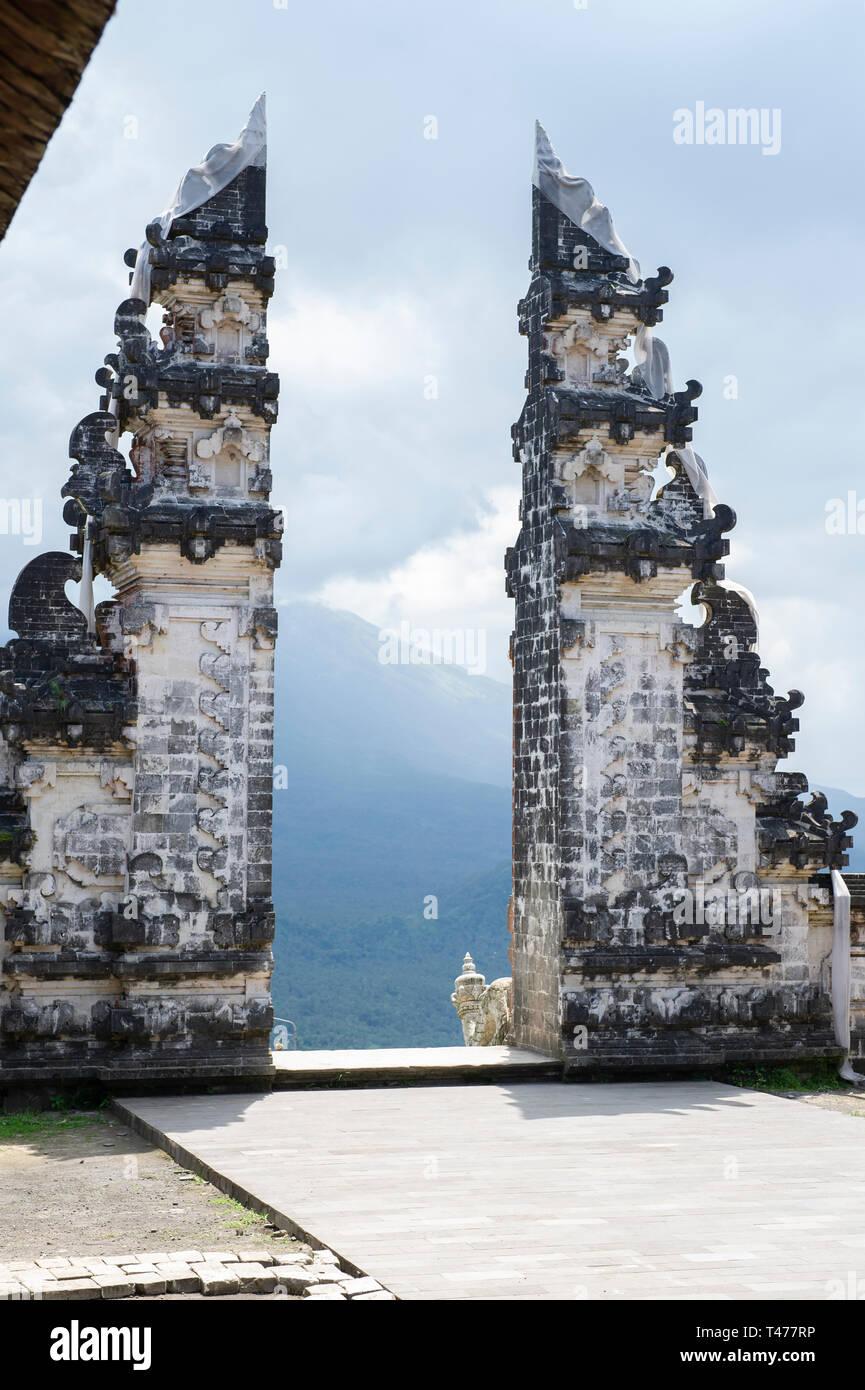 The Gates Of Heaven. A popular tourist attraction at Pura Penataran Agung Lempuyang (Lempuyang Temple) in Bali, Indonesia - Stock Image