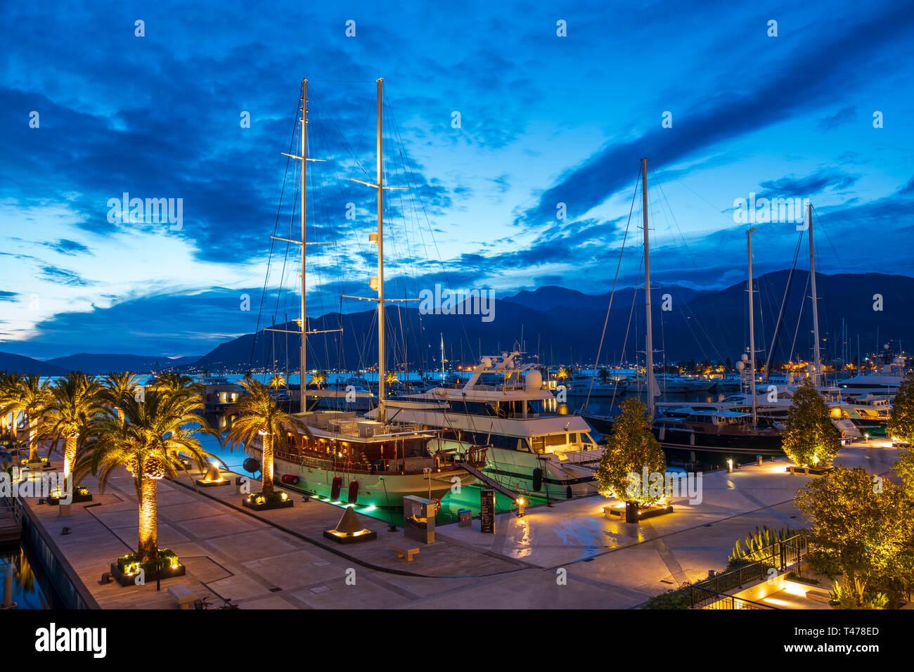 Night view of Porto Montenegro Tivat, Montenegro April 12 2019 - Stock Image