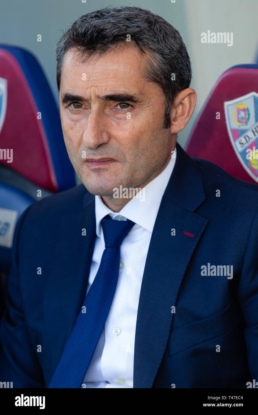 Huesca Spain 13th Apr 2019 Ernesto Valverde Fc Barcelona Manager During The Spanish League Football Match Between Sd Huesca And Fc Barcelona At The El Alcoraz Stadium In Huesca On April 13