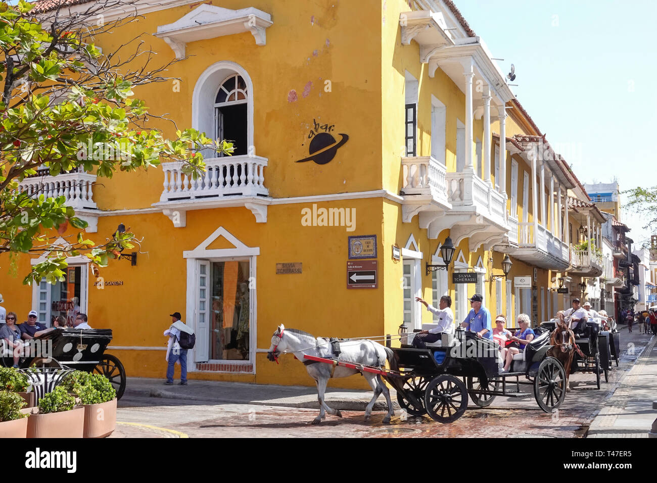 Colombia, Cartagena, Old Walled City Center centre, Centro, Plaza de Santa Teresa, colonial architecture, horse carriage tour, sightseeing visitors tr Stock Photo