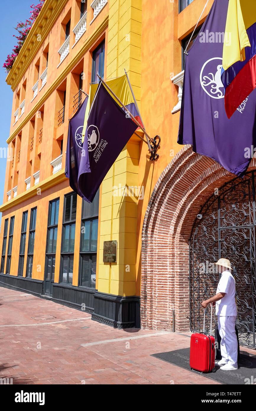 Colombia, Cartagena, Old Walled City Center centre, Centro, Hotel Charleston Santa Teresa, hotel hotels lodging inn motel motels, building exterior, H Stock Photo