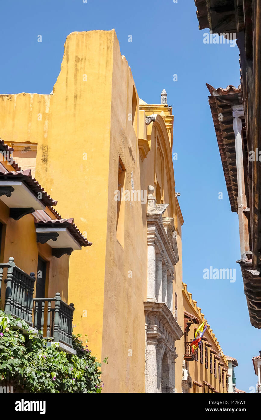 Cartagena Colombia Old Walled City Center centre Centro buildings colonial architecture - Stock Image
