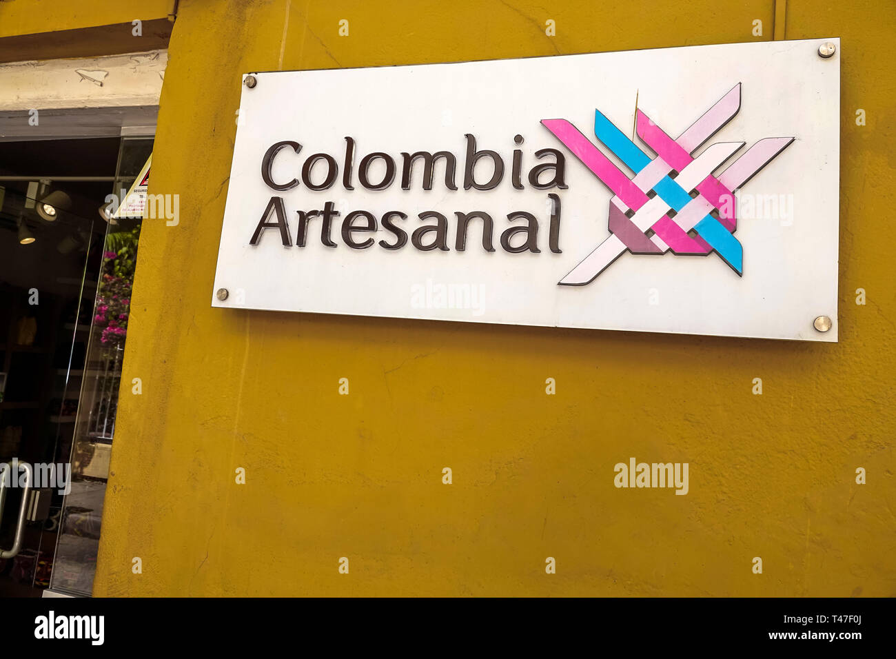 Cartagena Colombia Old Walled City Center centre Centro store sign handicrafts artisanal products - Stock Image