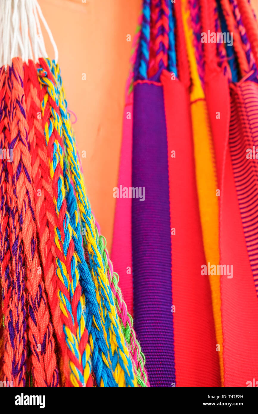 Cartagena Colombia Old Walled City Center centre Centro handicrafts colorful woven hammocks display sale - Stock Image