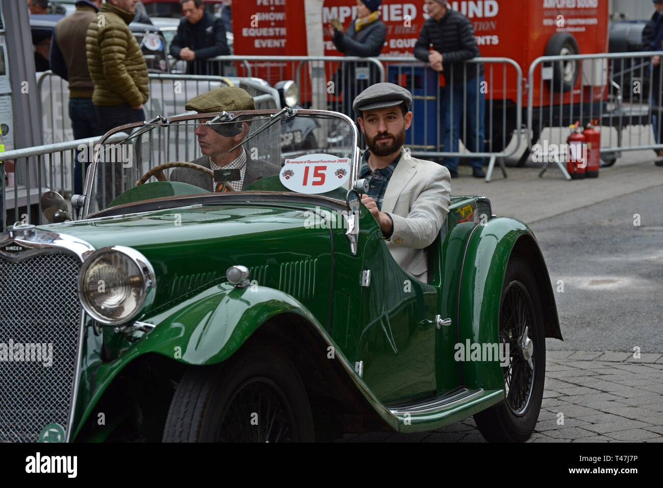 Bromyard, Herefordshire 7 April 2019. Streets are closed for annual Bromyard Speed Festival. Vintage & classic cars & bikes circuit the streets. - Stock Image