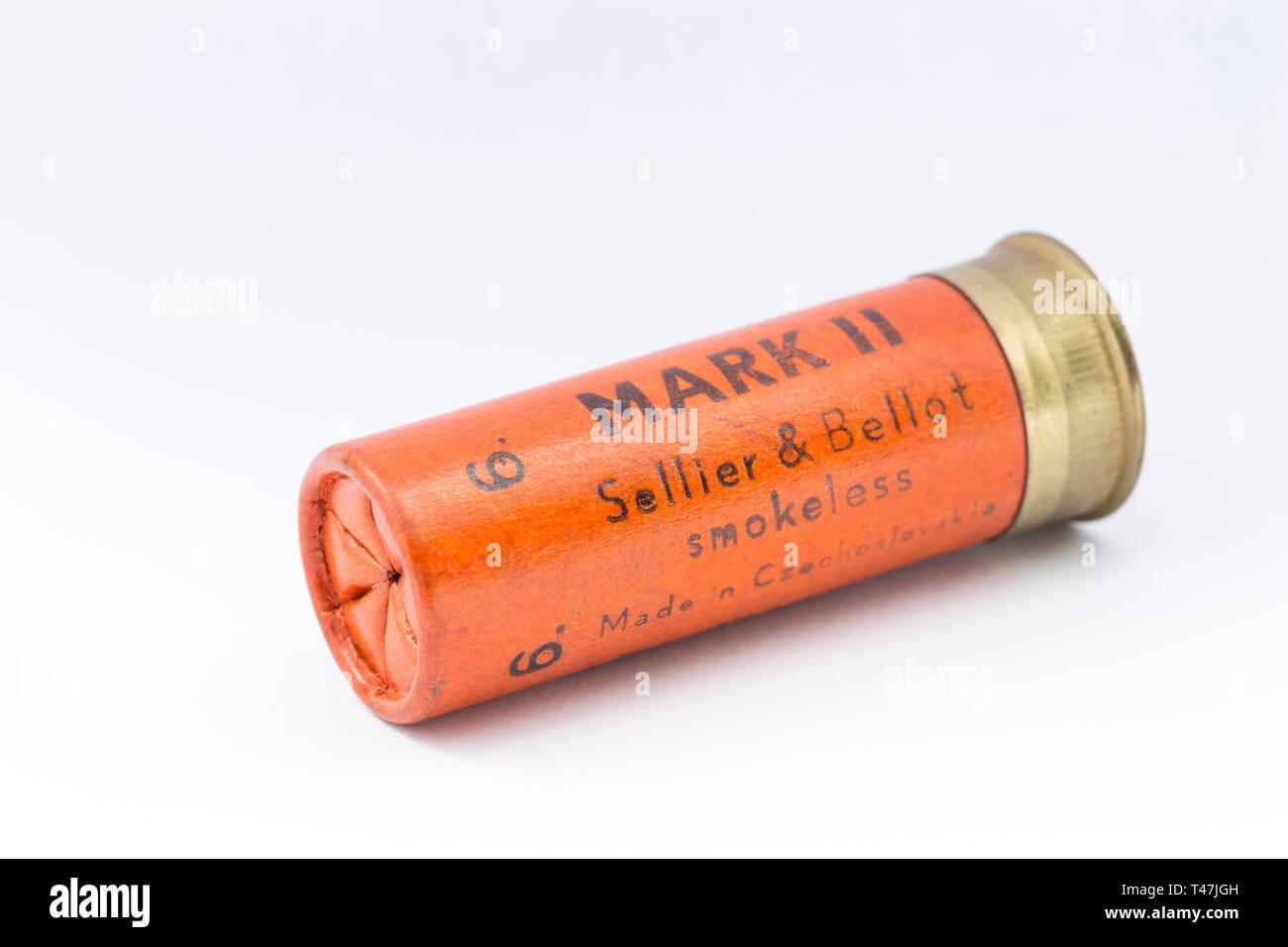 An old paper case Sellier & Bellot 12 gauge shotgun carridge loaded