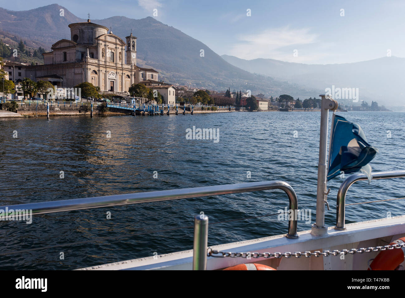 Approaching the town of Sale Marasino, Lake Iseo, Lombardy, Italy - Stock Image