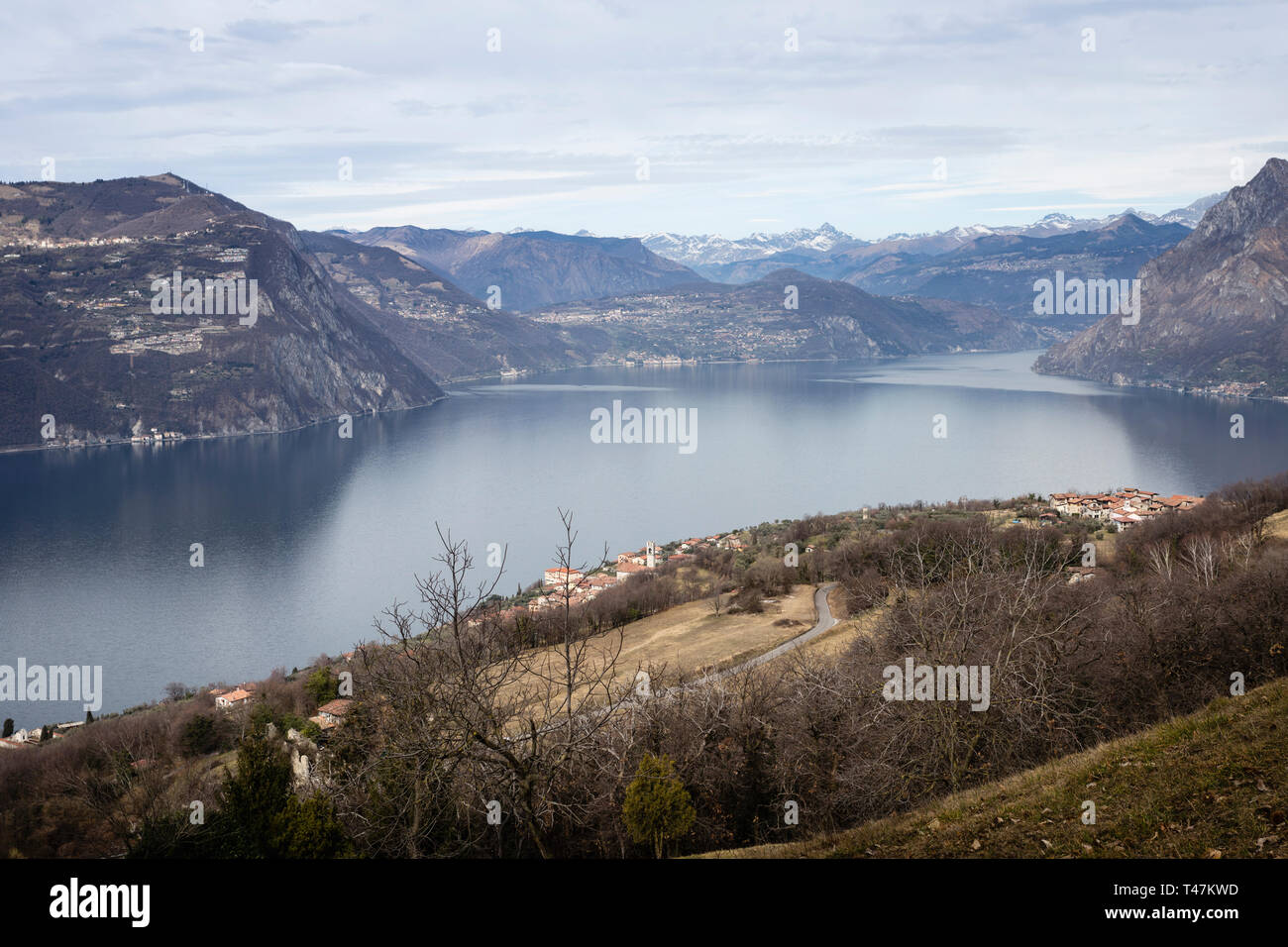 Lake Iseo seen from Monte Isola island, Lombardy, Italy - Stock Image