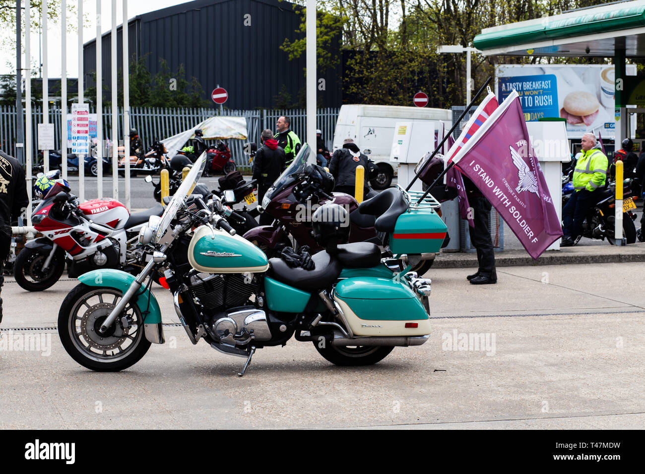22000 motorbikes rode through London on 12th April 2019 to protest the prosecution of Soldier F for Bloody Sunday - Stock Image