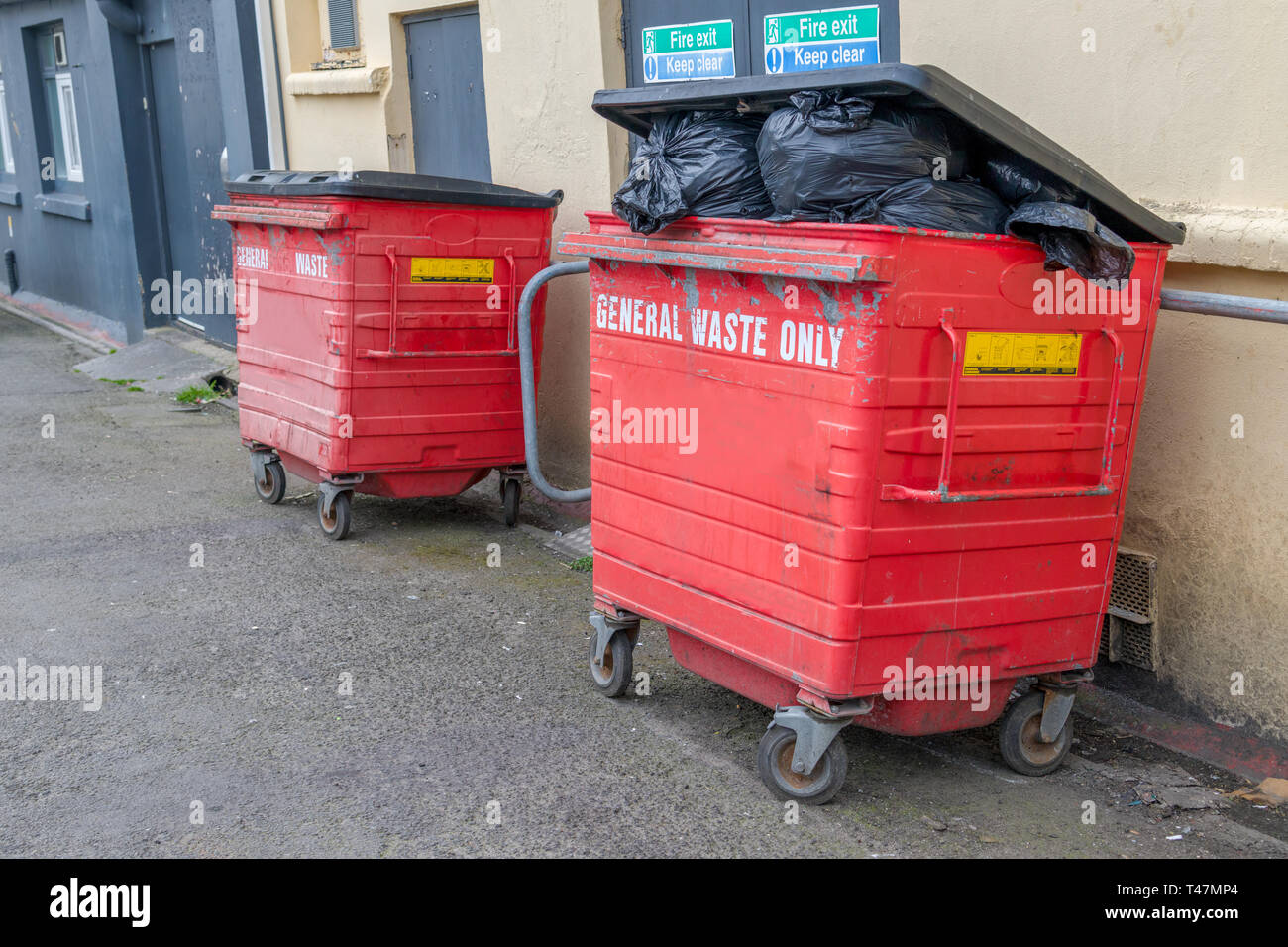 Two litter dumpsters guard the fire doors at the rear of a store premises. Stock Photo