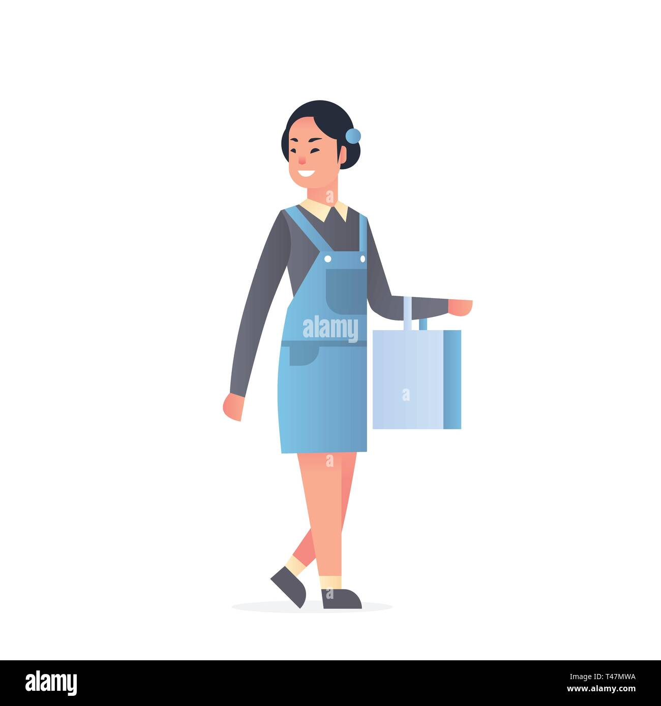 young asian girl wearing casual clothes happy attractive woman holding shopping bag chinese or japanese female cartoon character full length flat - Stock Vector