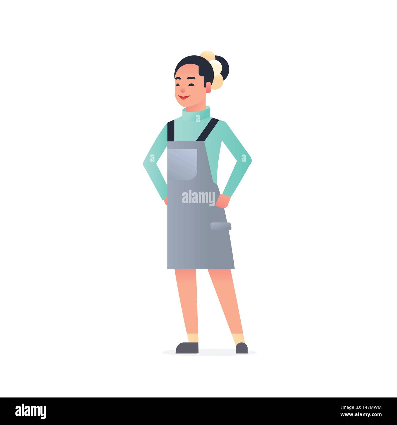 young asian girl wearing casual clothes happy attractive woman standing pose chinese or japanese female cartoon character full length flat white - Stock Vector