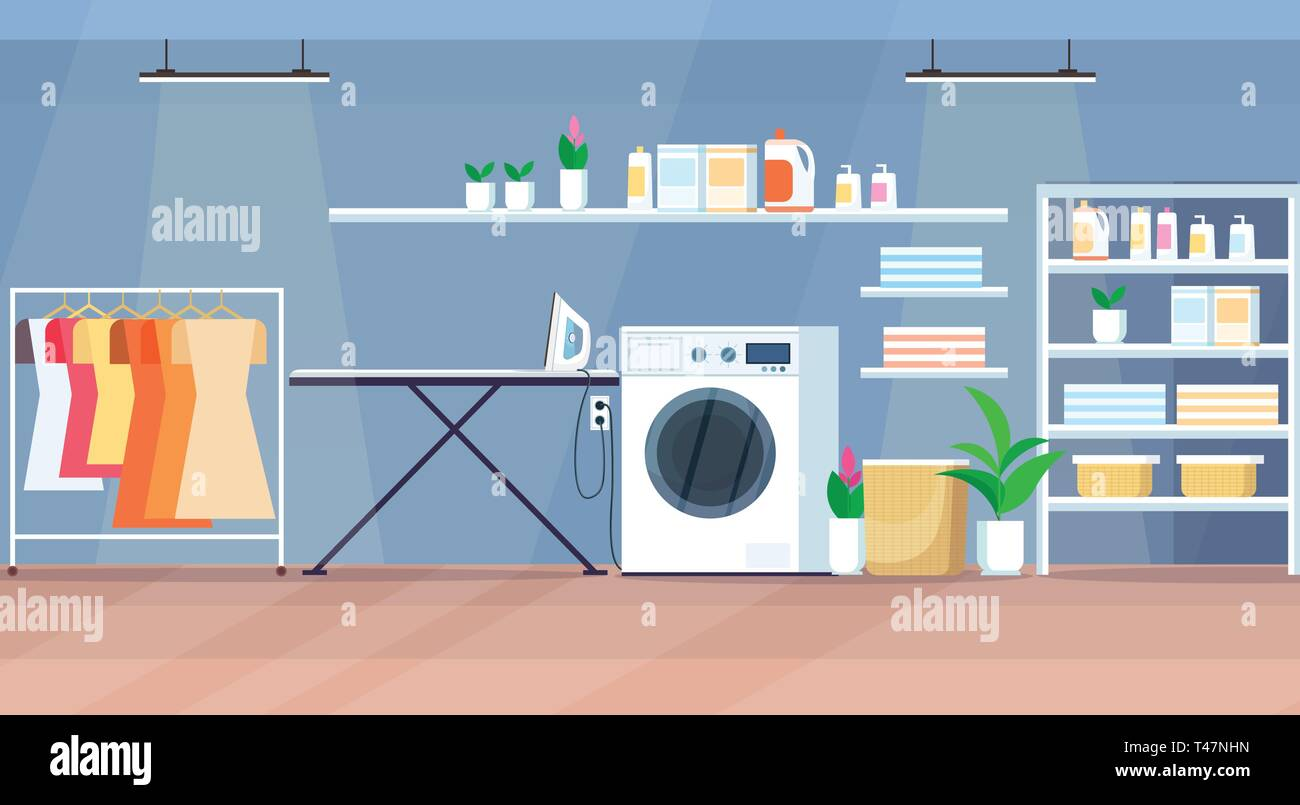 Modern Laundry Room Interior With Washing Machine Wooden
