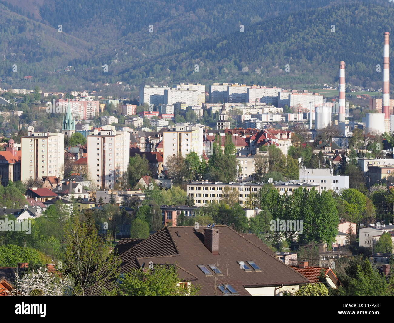 Marvelous cityscape panorama of european Bielsko-Biala city and countryside landscape at Beskids in POLAND - Stock Image