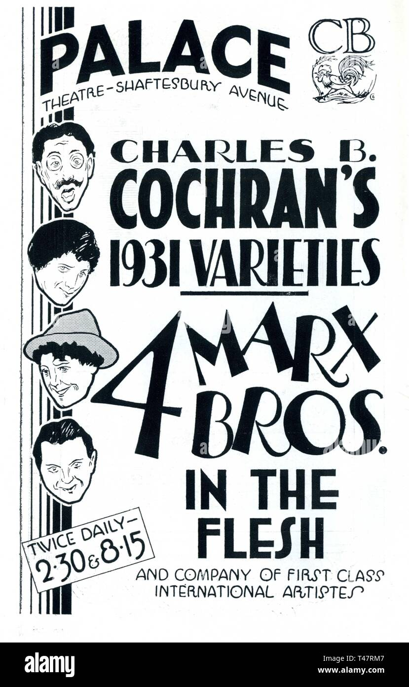 THE FOUR MARX BROTHERS in the Flesh PALACE THEATRE Shaftesbury Avenue London CHARLES B. COCHRAN's 1931 VARIETIES - Stock Image