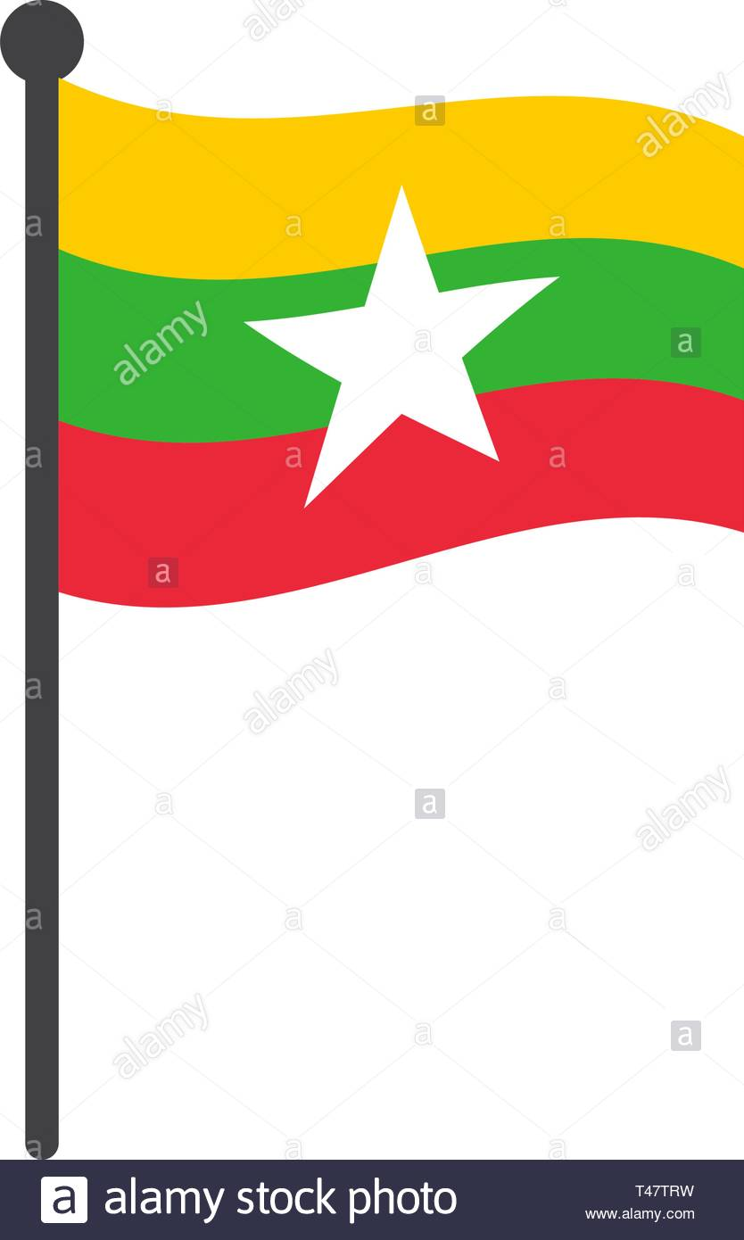 myanmar or burma flag with pole icon vector isolated on white background - Stock Vector