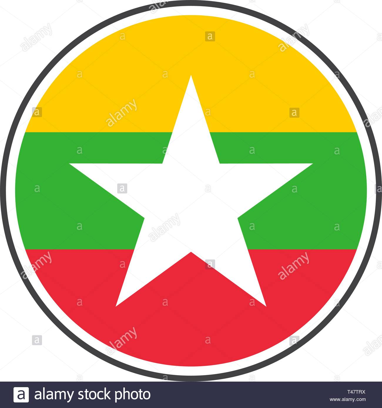 Circle myanmar or burma flag with icon vector isolated on white background - Stock Vector