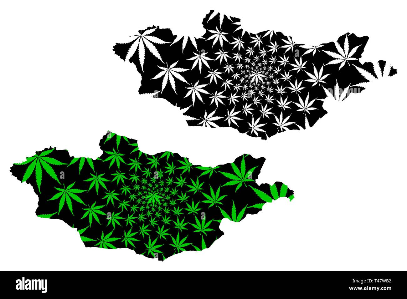 Mongolia - map is designed cannabis leaf green and black, Mongolia map made of marijuana (marihuana,THC) foliage, - Stock Image