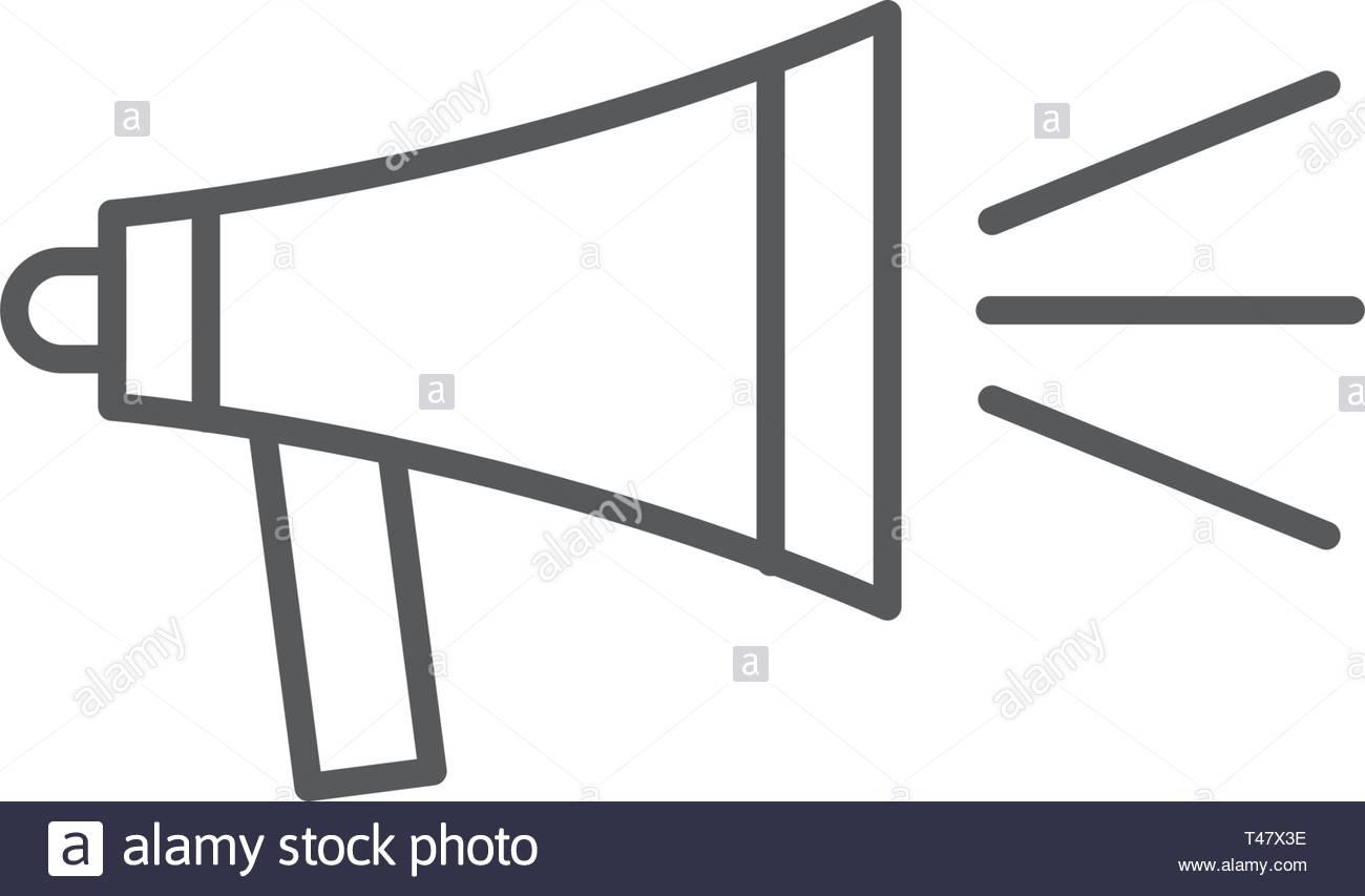 Icon megaphone or bullhorn Single Icon Graphic Design isolated on white background - Stock Vector