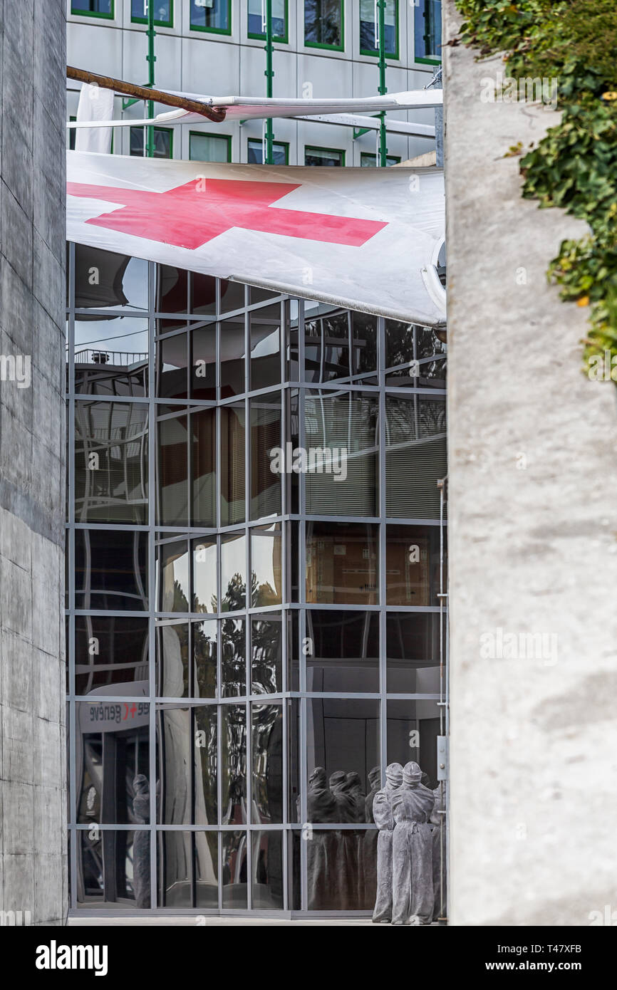The entrance to the International Museum of the Red Cross and Red Crescent is a museum located in Geneva (Switzerland). - Stock Image