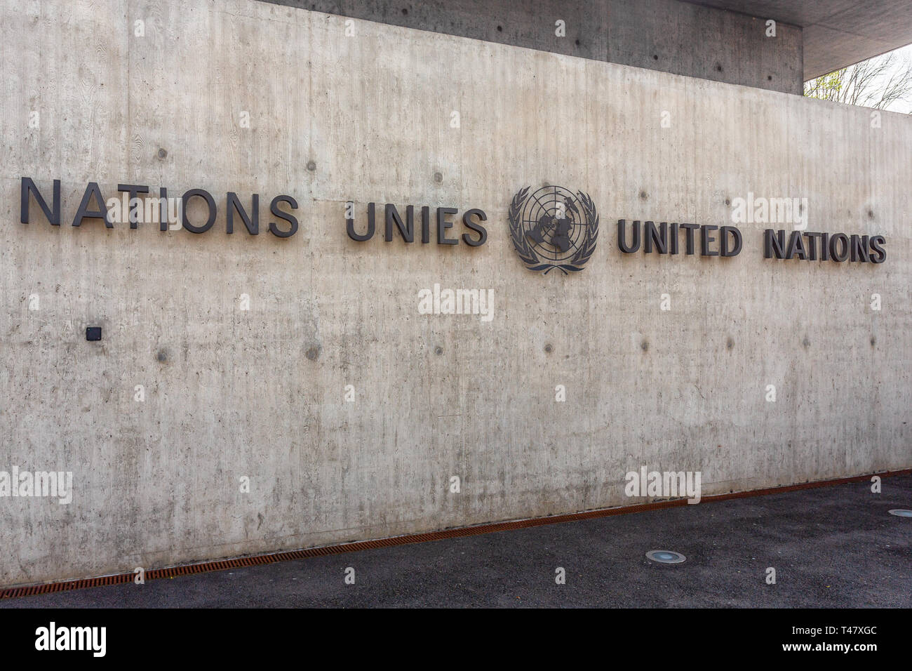 United Nations Building in Geneva (Switzerland). The United Nations (UN) is an international organization of 193 states. - Stock Image