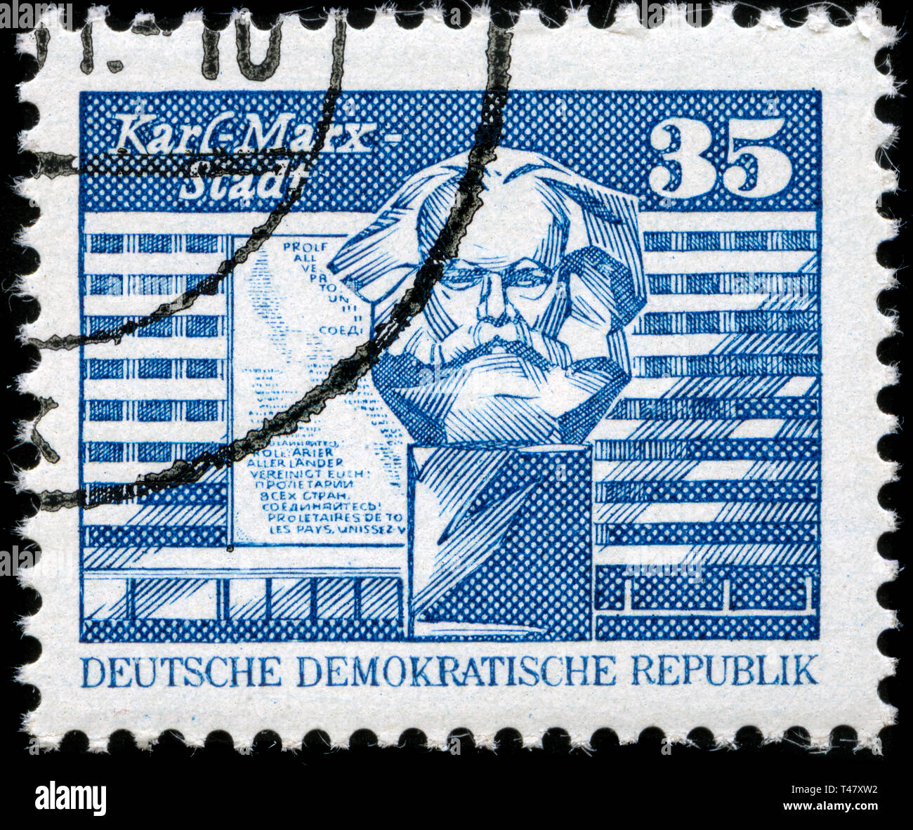 Postage stamp from East Germany (DDR)  in the Construction in the GDR, small format series issued in 1989 - Stock Image