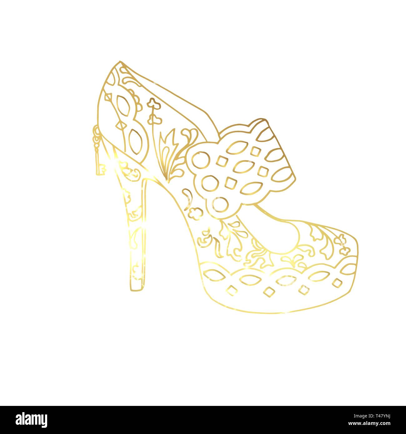 Golden high heel shoe hand drawn vector illustration. Women s shoe abstract sketch. Female footwear gradient outline drawing. Golden high heels sketched clipart. Isolated fashion design element - Stock Image