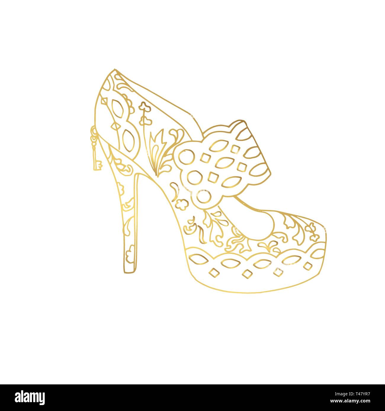Lady hogh heels or woman T-strap, girl shoes. Golden female boot with doodle style pattern, women clothing ornamental accessory. Glamor and shopping art, hand drawn boutique theme for coloring book - Stock Image