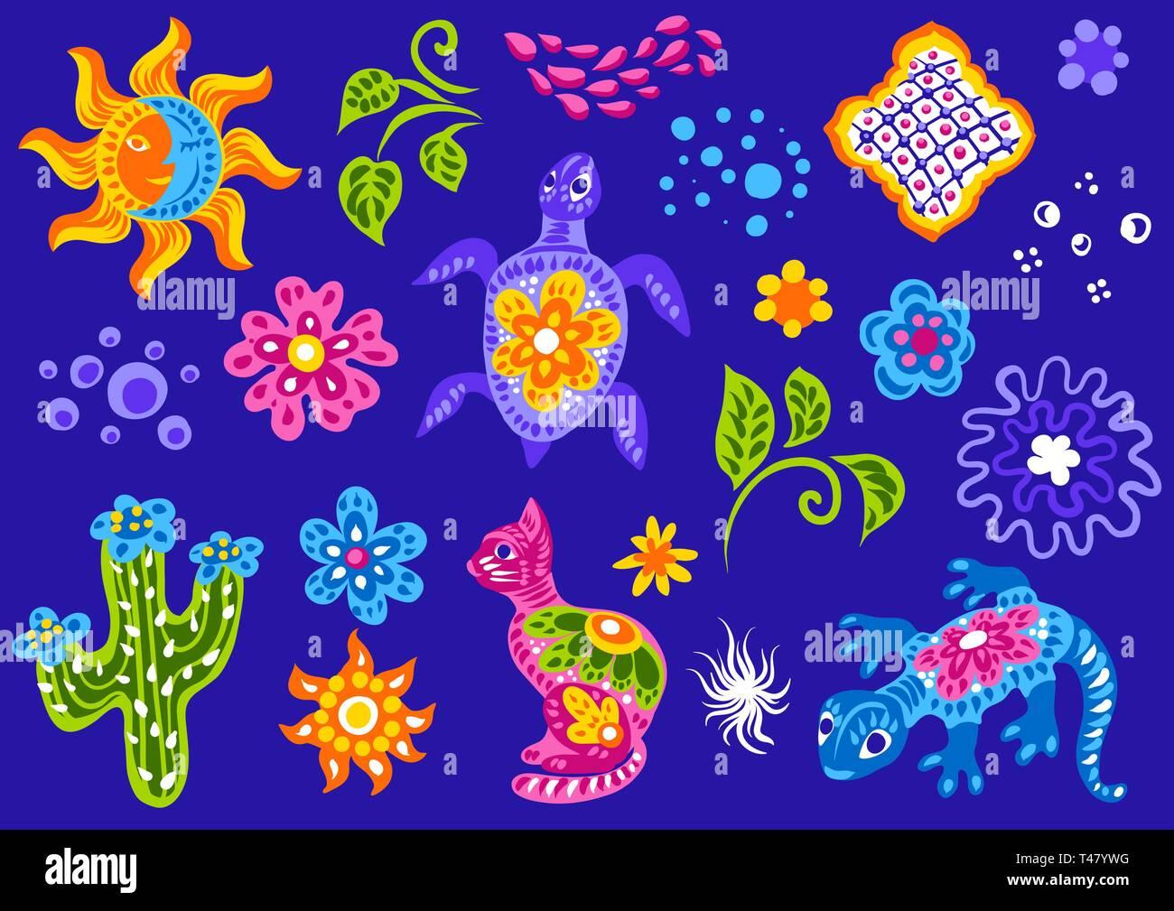 Set of mexican cute naive art items. - Stock Vector