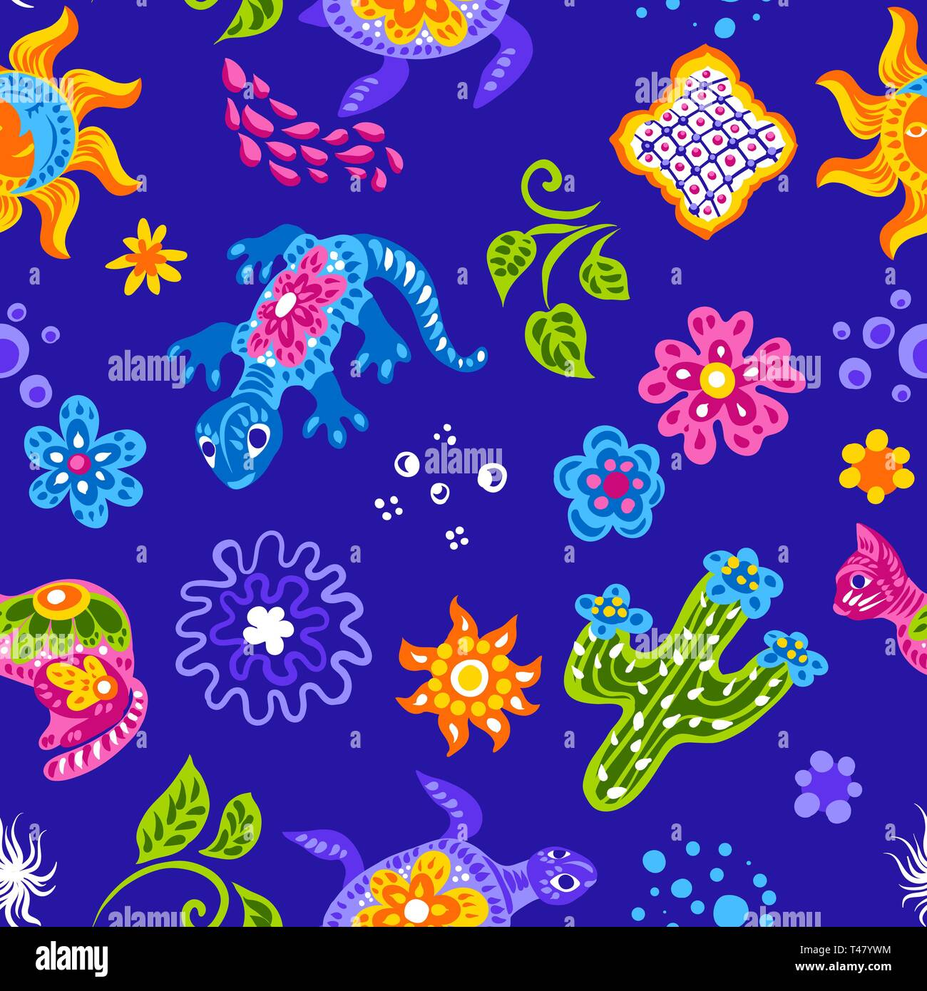 Mexican pattern with cute naive art items. - Stock Vector