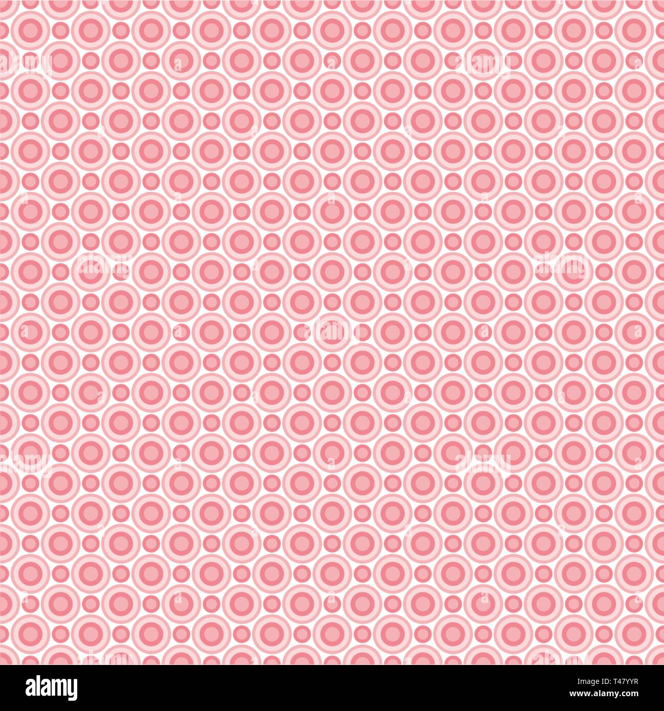 Seamless pattern of abstract pink circles for fabrics, wallpapers, tablecloths, prints and designs. EPS (vector) file has a pattern swatch that will s - Stock Vector