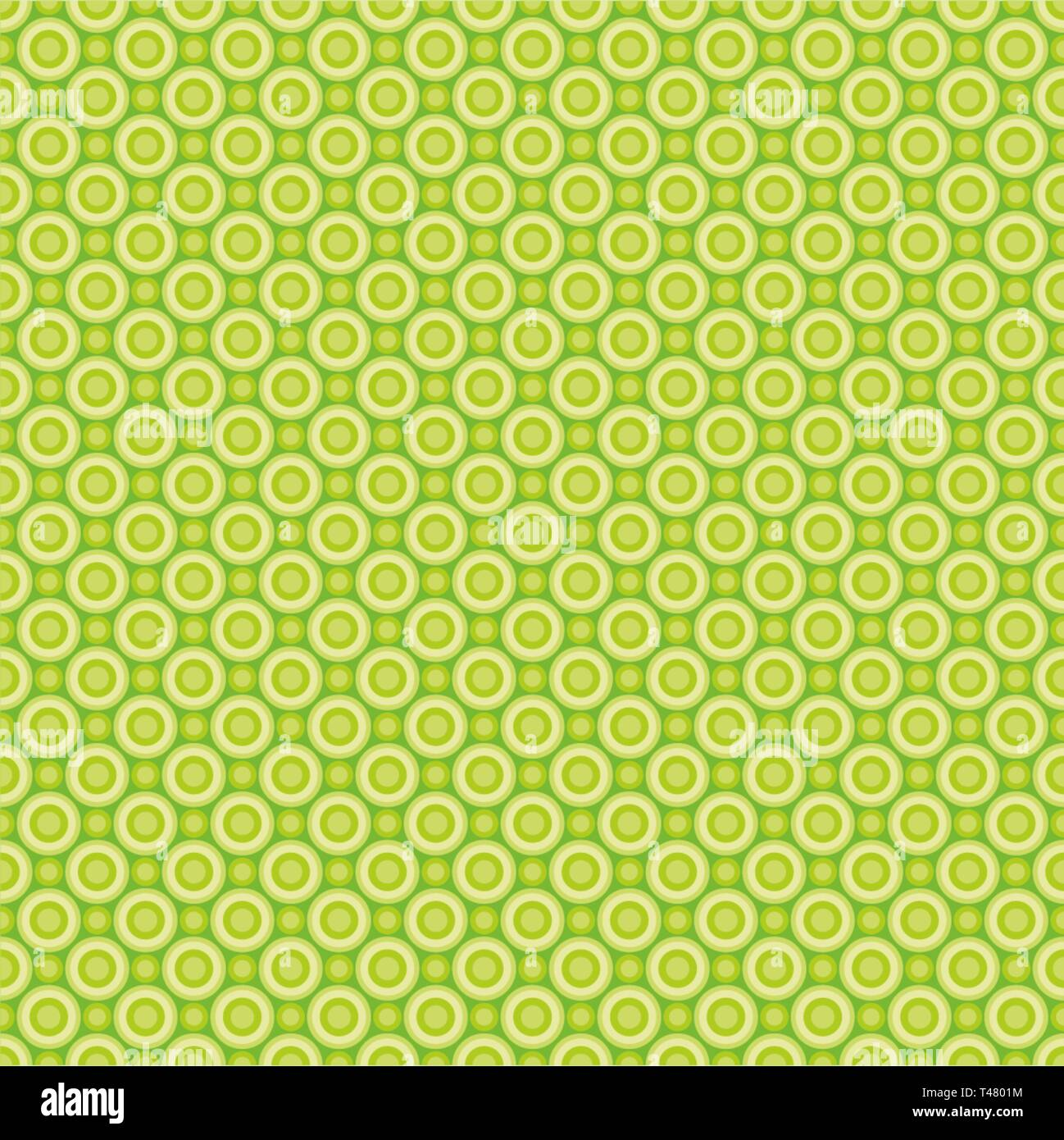 Seamless pattern of abstract yellow-green circles for fabrics, wallpapers, tablecloths, prints and designs.The EPS file (vector) has a pattern that wi - Stock Vector