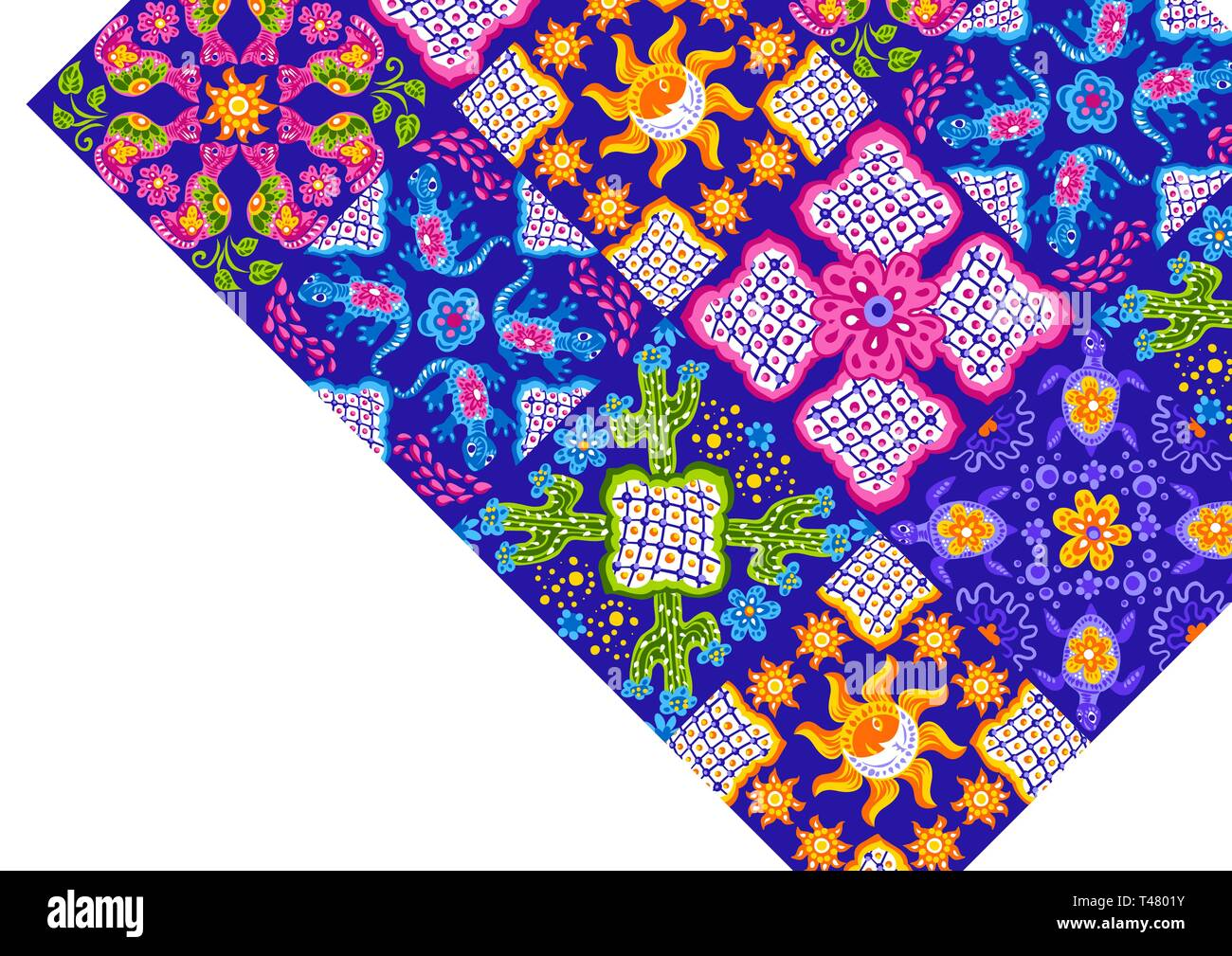 Mexican background with cute naive art items. - Stock Vector