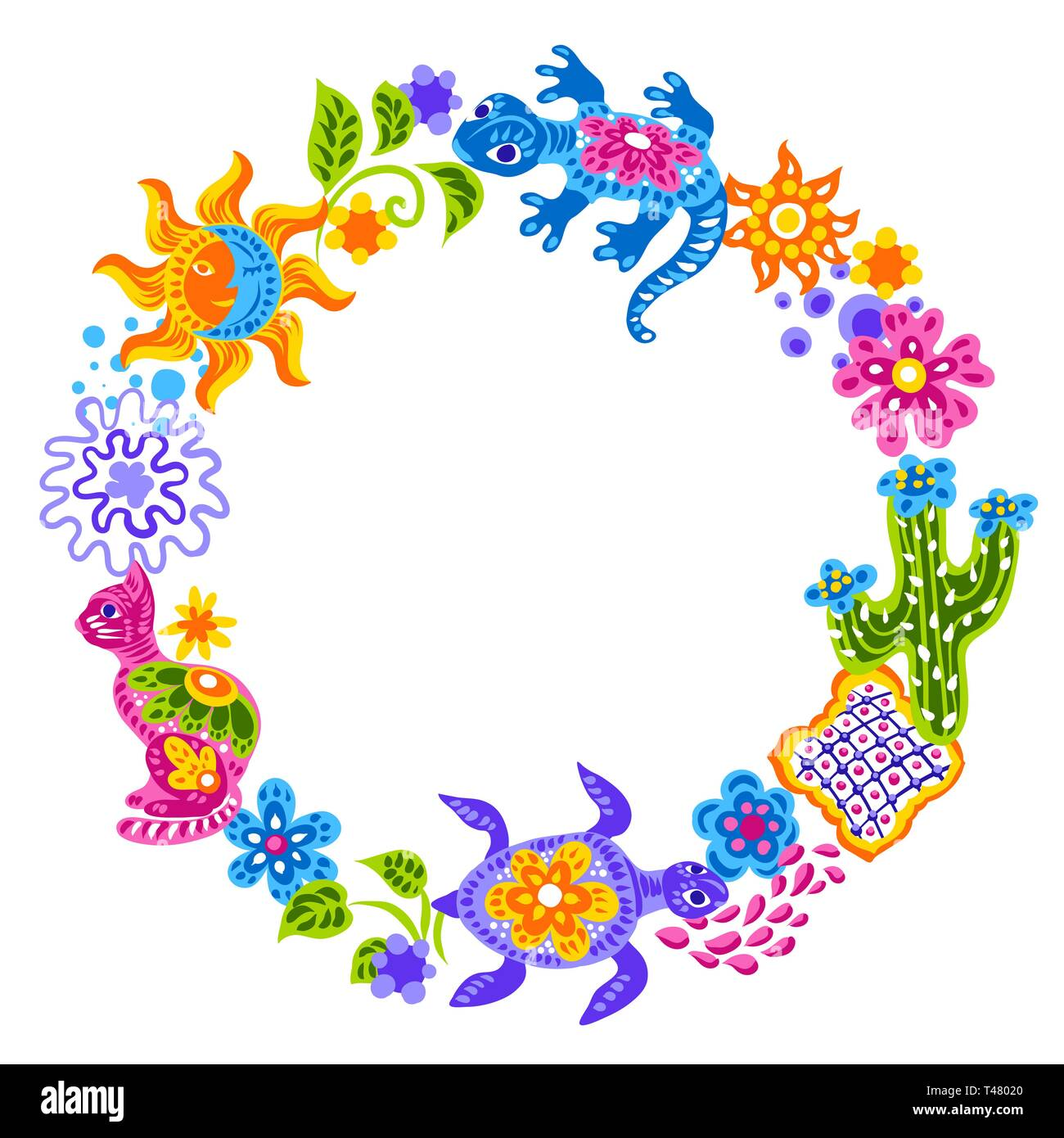 Mexican decoration with cute naive art items. - Stock Vector