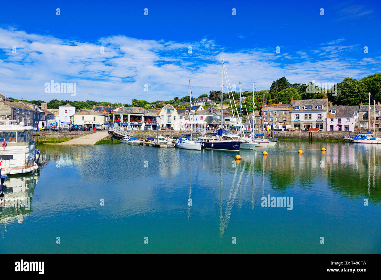 26 June 2018: Padstow, Cornwall, UK - The harbour and waterfront. Stock Photo